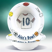 Personalized Sports Jersey Stoneware Cereal Bowls