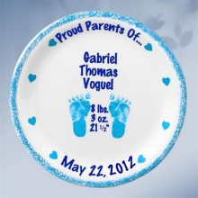 "Boys Personalized 11"" Porcelain Birth Plates"