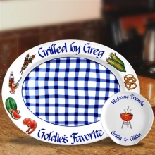 Personalized Stoneware Bar-B-Que Gingham Platters