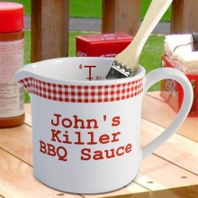 Red Gingham Personalized BBQ Sauce Pots