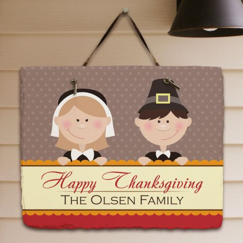 Pilgrim Personalized Happy Thanksgiving Slate Plaques