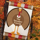 Personalized Thanksgiving Turkey Welcome House Flags