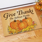 Give Thanks Personalized Thanksgiving Doormats